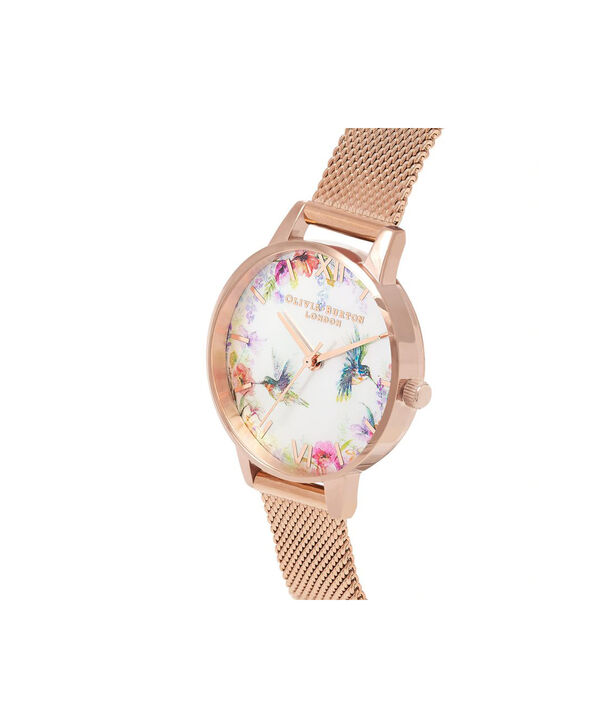 OLIVIA BURTON LONDON Painterly Prints Rose Gold MeshOB16PP49 – Midi Dial Round in Rose Gold - Side view