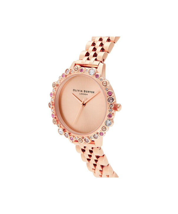OLIVIA BURTON LONDON Limited Edition Bejewelled Case Watch, Rose Gold BraceletOB16US32 – Bejewelled Case Watch - Side view