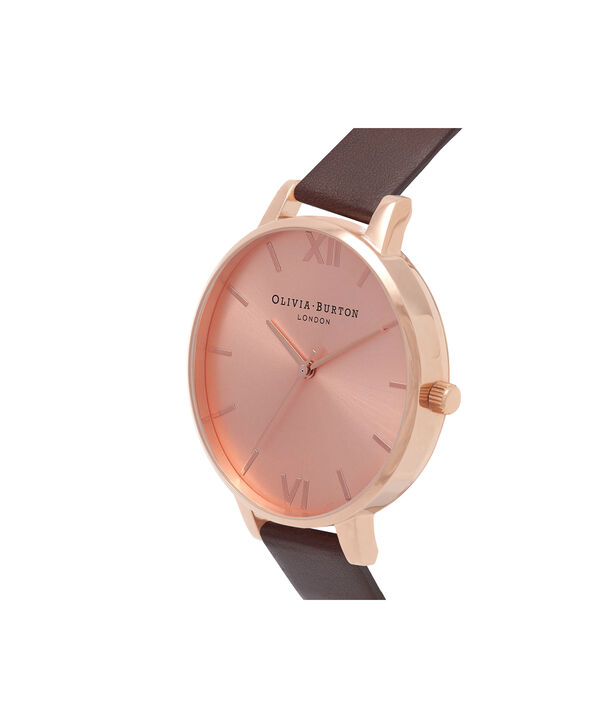 OLIVIA BURTON LONDON  Big Dial Chocolate & Rose Gold Watch OB16BD105 – Big Dial in Rose Gold and Chocolate - Side view