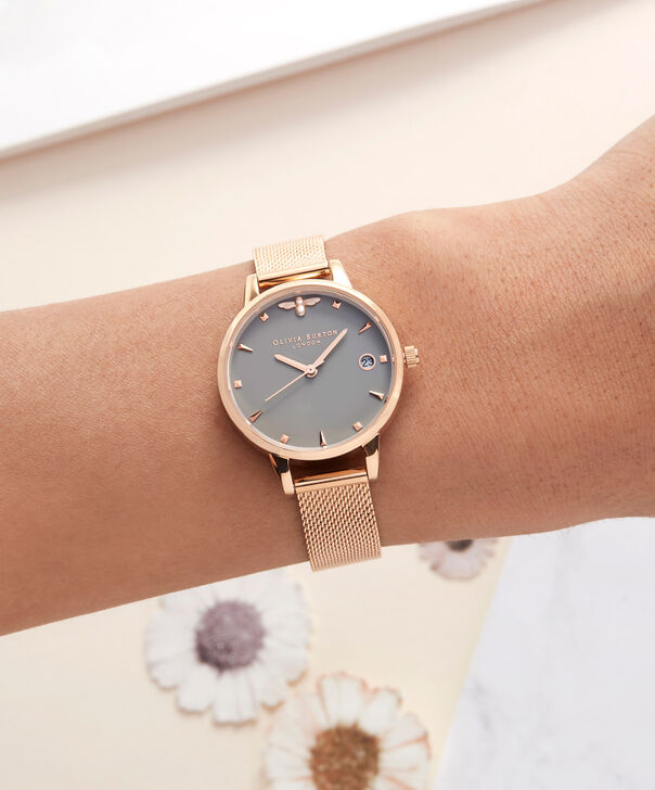 OLIVIA BURTON LONDON  Queen Bee Rose Gold Mesh Watch OB16AM122 – Midi Dial Round in White and Rose Gold - Other view