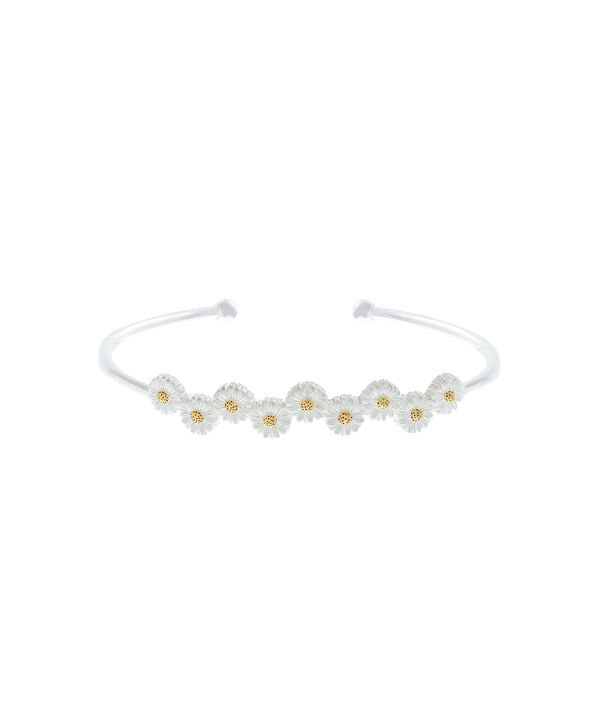 OLIVIA BURTON LONDON  Daisy Open Ended Bangle Silver & Gold OBJ16DAB12 – 3D Daisy Bangle - Front view