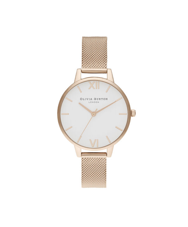 OLIVIA BURTON LONDON Demi White Dial Pale Rose Gold MeshOB16DE10 – Demi Dial In Rose Gold And Rose Gold - Front view