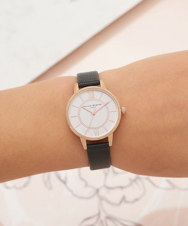 OLIVIA BURTON LONDON  Wonderland Black, Rose Gold & Silver Mix Watch OB15WD59 – Midi Dial Round in Silver and Black - Other view