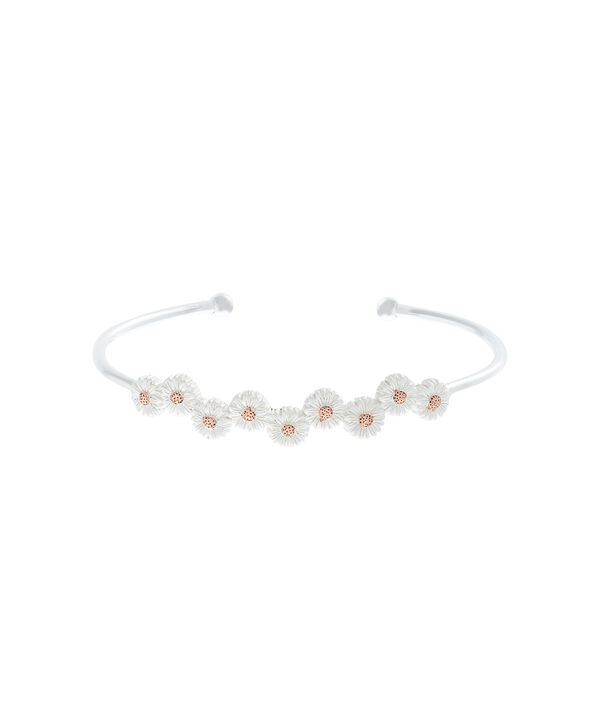 OLIVIA BURTON LONDON  Daisy Open Ended Bangle Silver & Rose Gold OBJ16DAB11 – 3D Daisy Bangle - Front view