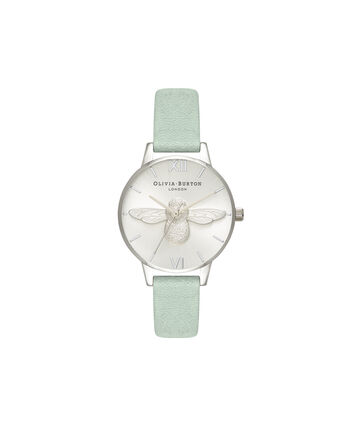 OLIVIA BURTON LONDON 3D BeeOB16AM149 – Midi Dial Round in Silver - Front view