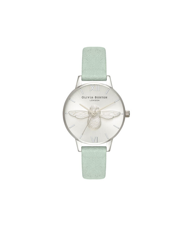 OLIVIA BURTON LONDON  3D Bee Sage & Silver OB16AM149 – Midi Dial Round in Silver - Front view
