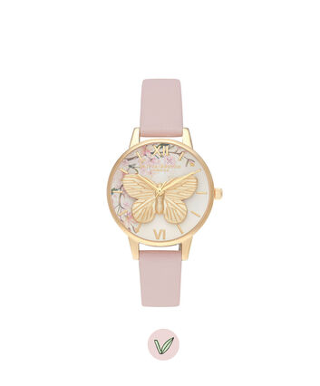 OLIVIA BURTON LONDON Pretty Blossom 3D Butterfly Vegan Rose & GoldOB16EG125 – Pretty Blossom 3D Butterfly Vegan Rose & Gold - Front view