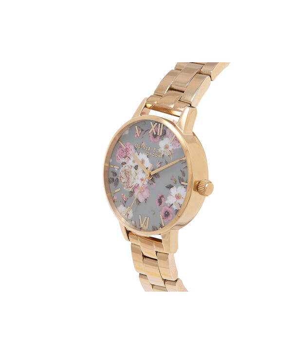 OLIVIA BURTON LONDON  Winter Garden Big Dial Grey & Gold Watch OB16EG95 – Big Dial in Grey Floral and Gold - Side view