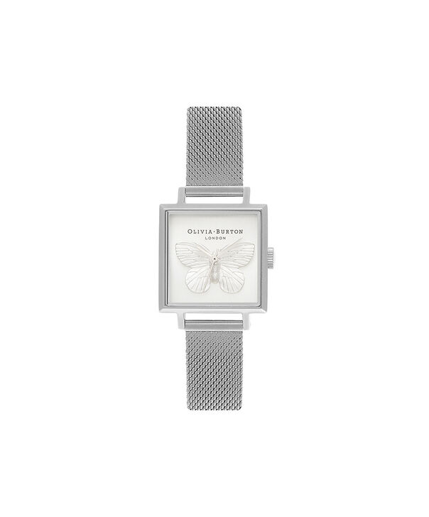 OLIVIA BURTON LONDON  3D Butterfly Mesh Silver OB16MB15 – Midi Square in Silver and Silver - Front view