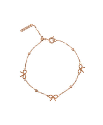OLIVIA BURTON LONDON  Bow and Ball Bracelet Rose Gold OBJ16VBB09 – Vintage Bow Chain Bracelet - Front view