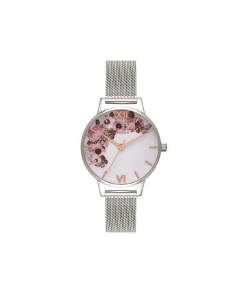 OLIVIA BURTON LONDON  Signature Floral Silver Mesh Watch OB16WG30 – Midi Dial Round in White and Silver - Front view