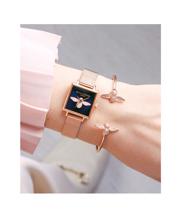OLIVIA BURTON LONDON  3D Bee Open End Bangle Rose Gold OBJ16AMB02 – 3D Bee Bangle - Other view
