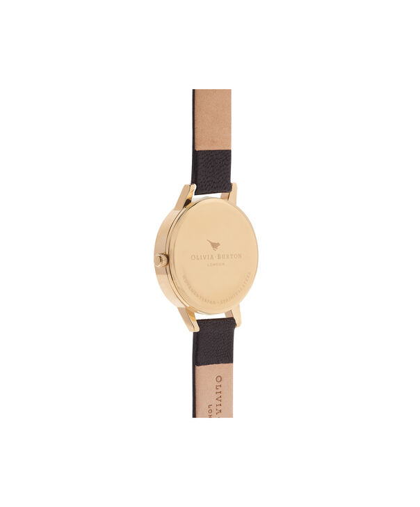 OLIVIA BURTON LONDON Lace Detail Black & Gold Watch OB16MV60 – Midi Dial Round in Black - Back view