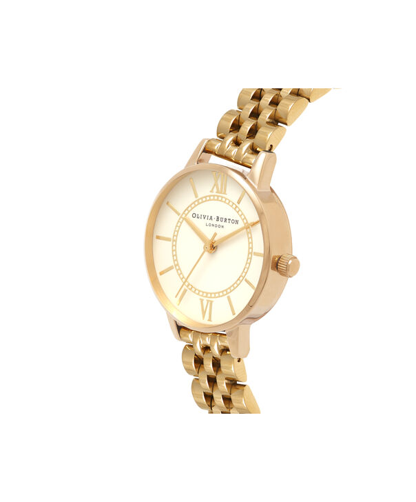 OLIVIA BURTON LONDON  Wonderland Nude Dial & Gold Bracelet OB16WD69 – Midi Dial Round in Gold - Side view