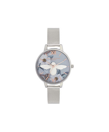 OLIVIA BURTON LONDON Bejewelled Florals 3D Bee Demi Dial WatchOB16BF18 – Demi Dial in blue and Silver - Front view