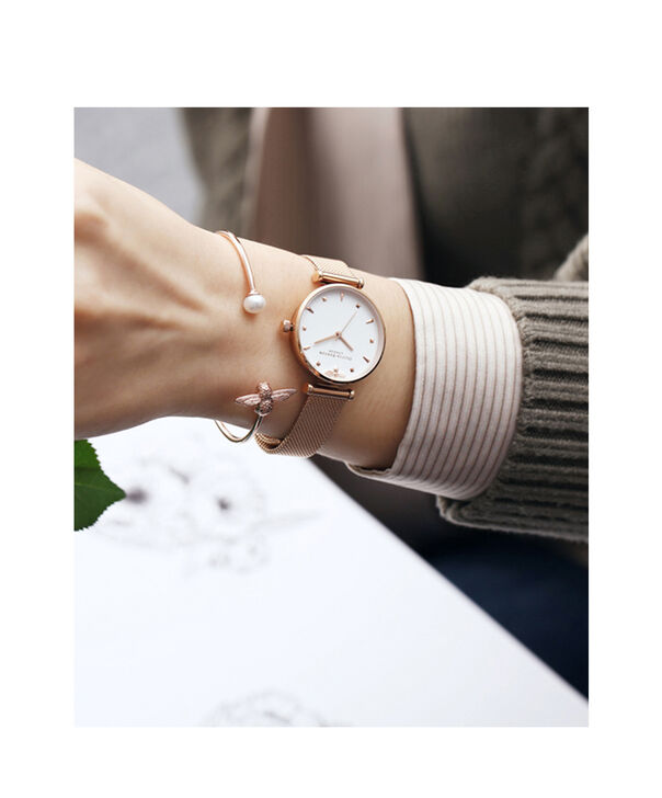 OLIVIA BURTON LONDON  Rose Gold Mesh Watch OB16AM105 – Midi Dial in White and Rose Gold - Other view