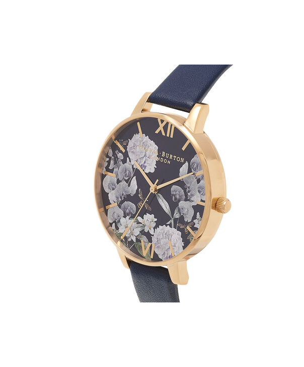 OLIVIA BURTON LONDON  Enchanted Garden Bee Blooms Midnight Dial & Gold Watch OB16EG55 – Big Dial Round in Floral and Navy - Side view