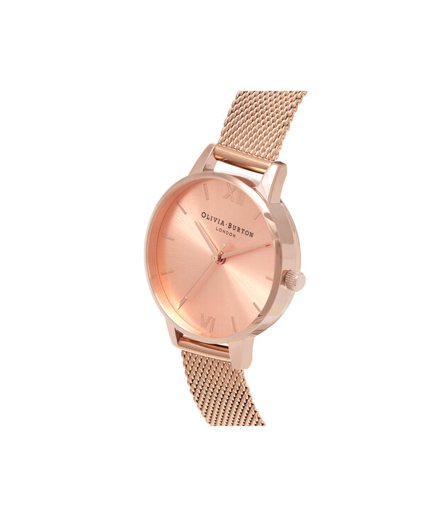 OLIVIA BURTON LONDON  Sunray Dial Midi Dial Rose Gold Mesh OB16MD84 – Midi Dial Round in Rose Gold - Side view