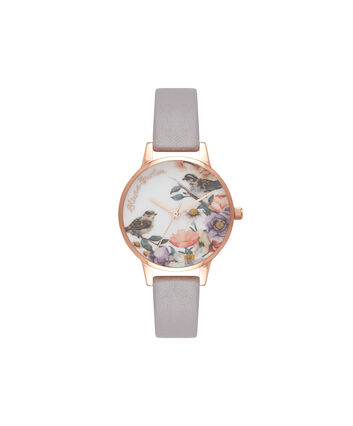 OLIVIA BURTON LONDON English Garden Grey Lilac & Rose Gold Watch OB16ER13 – Midi Dial in White and Grey Lilac - Front view