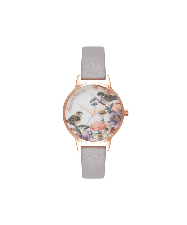 Ladies English Garden Grey Lilac & Rose Gold Watch | Olivia Burton London