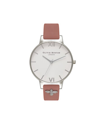 OLIVIA BURTON LONDON 3D BeeOB16ES01 – Big Dial Round in White and Rose - Front view