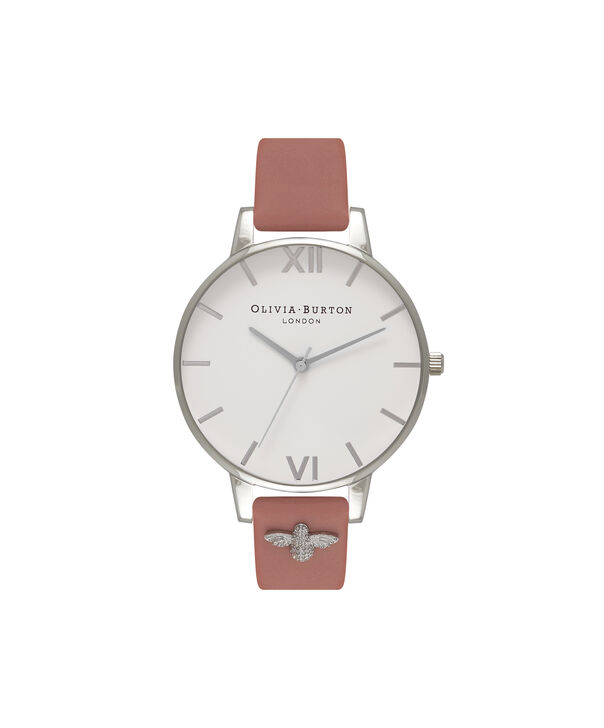 OLIVIA BURTON LONDON  3D Bee Embellished Strap Rose & Silver Watch OB16ES01 – Big Dial Round in White and Rose - Front view