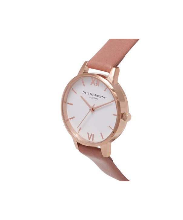 OLIVIA BURTON LONDON  White Dial Rose & Rose Gold Watch OB16MDW03 – Midi Dial Round in White and Rose - Side view