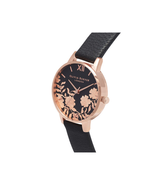 OLIVIA BURTON LONDON Lace Detail Black & Rose Gold Watch OB16MV75 – Midi Dial Round in Black - Side view
