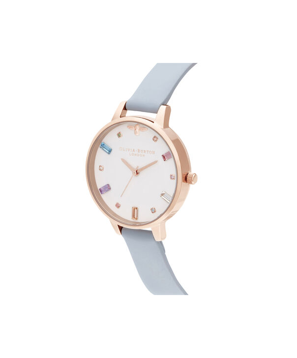 OLIVIA BURTON LONDON Rainbow Bee Demi Chalk Blue & Rose GoldOB16RB12 – Demi Dial In Blue And Rose Gold - Side view