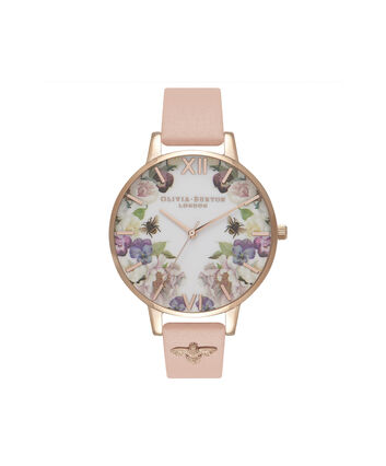 OLIVIA BURTON LONDON  Enchanted Garden Dusty Pink & Rose Gold OB16EG111 – Big Dial Round in Rose Gold and Pink - Front view