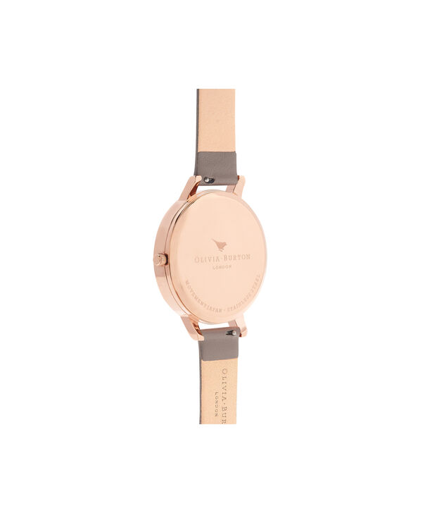 OLIVIA BURTON LONDON  Floral Bouquet London Grey & Rose Gold Watch OB16FS99 – Big Dial Round in Floral and Rose Gold - Back view