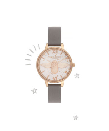 OLIVIA BURTON LONDON Celestial 3D Bee Demi Dial WatchOB16GD06 – Demi Dial in grey and Rose Gold - Front view