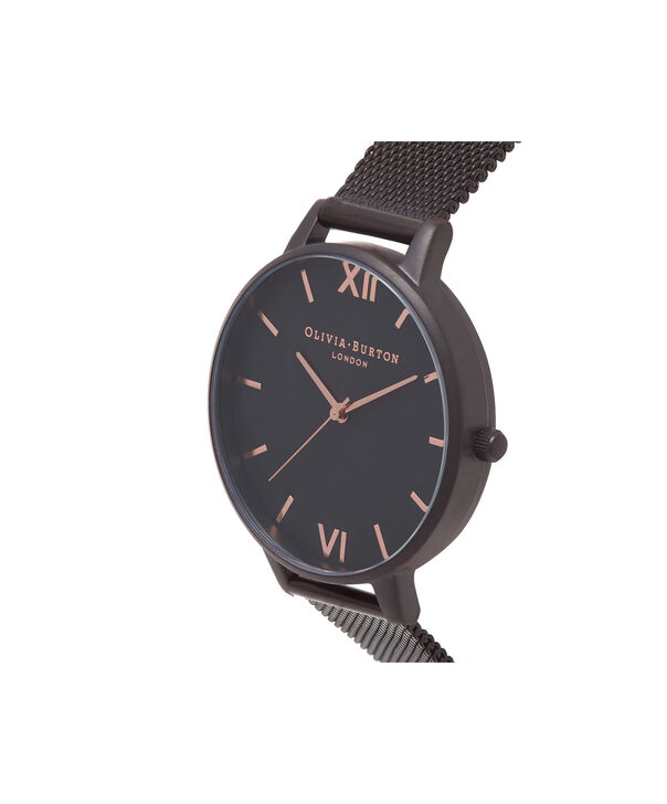 OLIVIA BURTON LONDON After Dark IP Black Mesh WatchOB15BD83 – Big Dial Round in Black - Side view