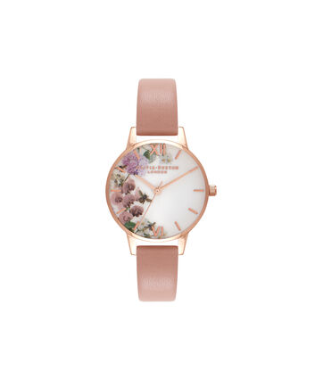 OLIVIA BURTON LONDON  Enchanted Garden Dusty Pink & Rose Gold Watch OB16EG56 – Midi Dial in White Floral and Pink - Front view