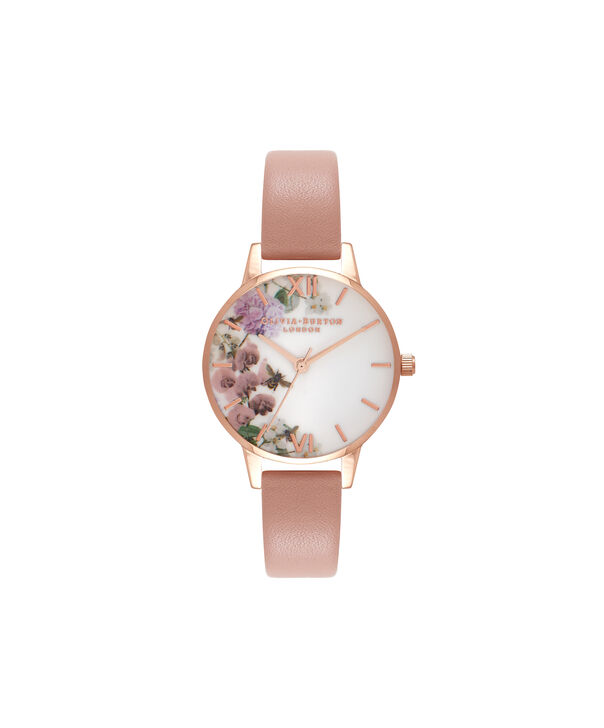 Ladies Enchanted Garden Dusty Pink & Rose Gold Watch | Olivia Burton London