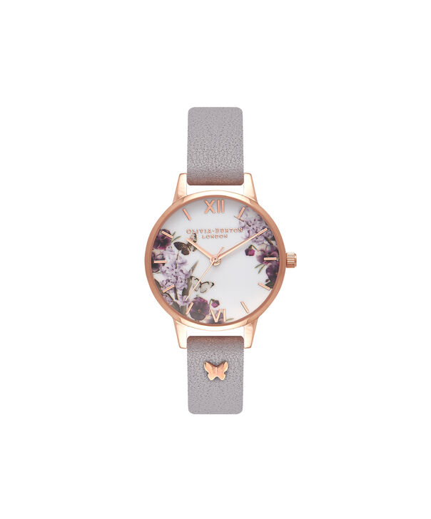 OLIVIA BURTON LONDON  Enchanted Garden Grey Lilac & Rose Gold Watch OB16ES05 – Midi Dial Round in Rose Gold and Grey Lilac - Front view