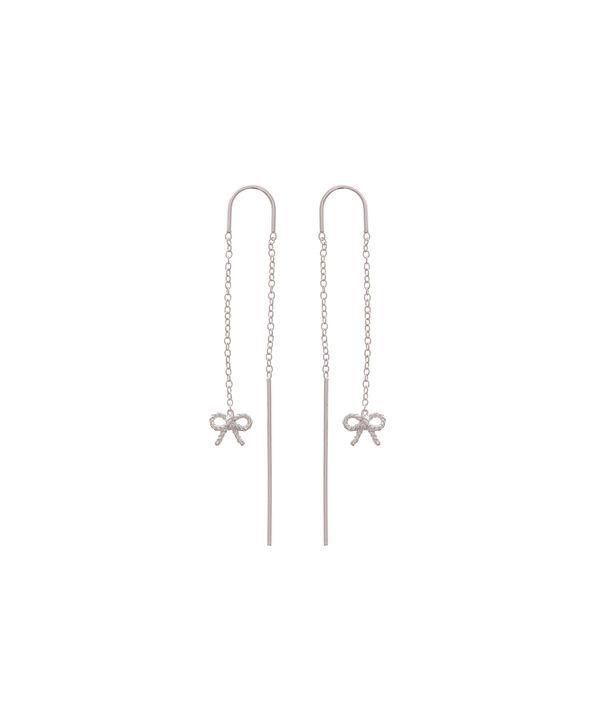 Ladies Vintage Bow Chain Drop Earrings Silver|Olivia Burton London