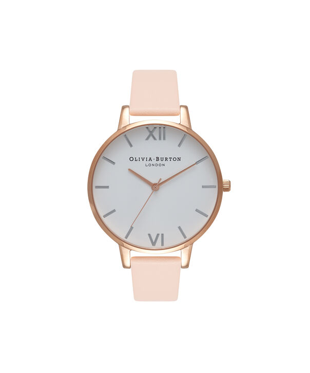 OLIVIA BURTON LONDON  Big Dial Nude Peach, Rose Gold & Silver Watch OB16BDW21 – Big Dial Round in White and Peach - Front view