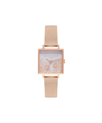 OLIVIA BURTON LONDON Lace DetailOB16MV78 – Midi Dial Square in Grey Lilac and Rose Gold - Front view
