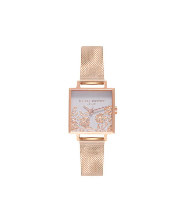 OLIVIA BURTON LONDON  Lace Detail Grey Lilac & Rose Gold Watch OB16MV78 – Midi Dial Square in Grey Lilac and Rose Gold - Front view
