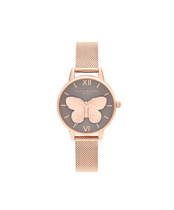 OLIVIA BURTON LONDON 3D Butterly  Grey Dial & Rose Gold MeshOB16MB28 – 3D Butterly  Grey Dial & Rose Gold Mesh - Front view