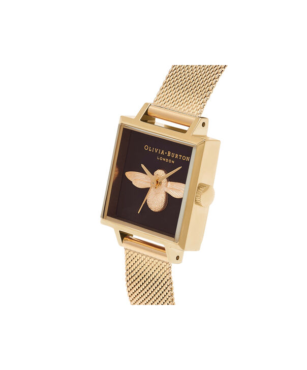 OLIVIA BURTON LONDON  Square Dial 3D Bee Gold Mesh Watch OB16AM90 – Midi Dial Square in Black and Gold - Side view