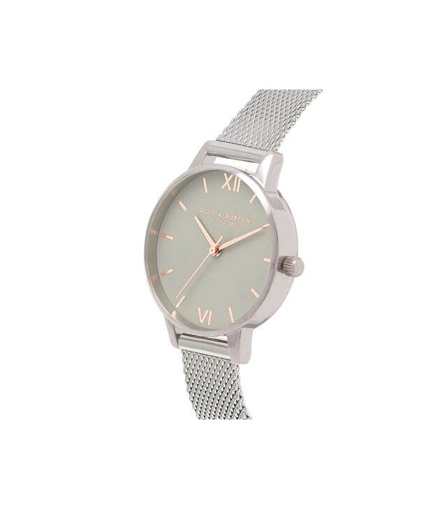 OLIVIA BURTON LONDON Grey Dial Mesh, Rose Gold & SilverOB16MD95 – Midi Dial Round in Rose Gold and Silver - Side view