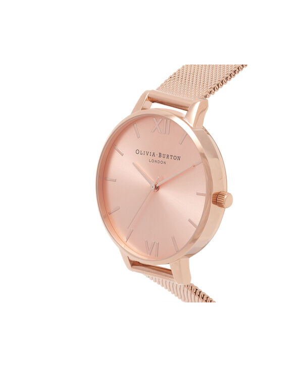 OLIVIA BURTON LONDON Big Dial Rose Gold Sunray Mesh WatchOB16BD102 – Big Dial in Rose Gold - Side view