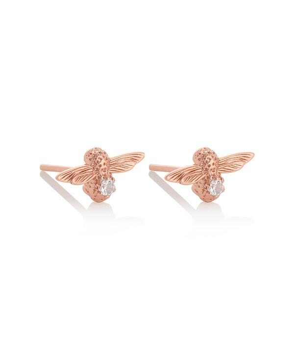 OLIVIA BURTON LONDON Celebration Bee Studs Rose Gold & White TopazOBJAME98 – Celebration Bee Studs Rose Gold & White Topaz - Side view