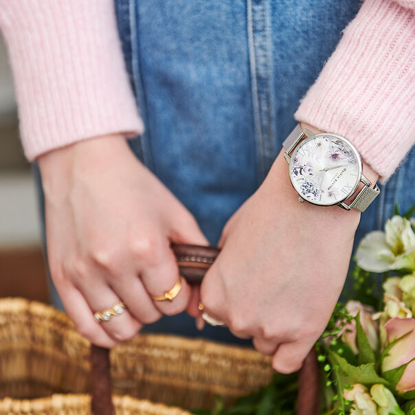 OLIVIA BURTON LONDON Sunlight Florals Big Dial Silver MeshOB16EG117 – Sunlight Florals Big Dial Silver Mesh - Other view