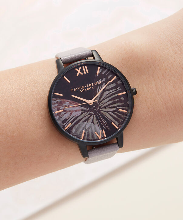 OLIVIA BURTON LONDON  After Dark Matte Black & Grey Lilac Watch OB16AD01 – Big Dial Round in Black and Grey Lilac - Other view