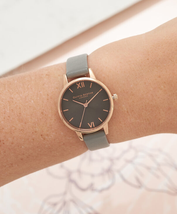 OLIVIA BURTON LONDON  Big Dial Grey And Rose Gold Watch OB16MD78 – Midi Dial Round in Grey - Other view
