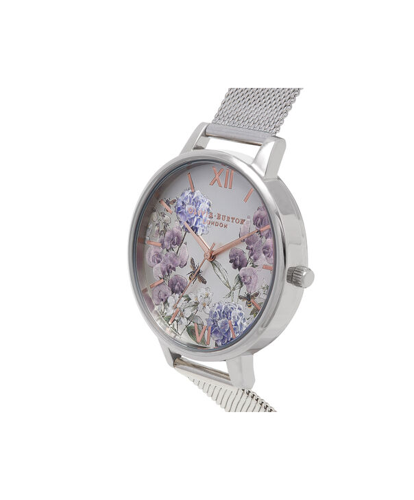 OLIVIA BURTON LONDON  Parlour Bee Blooms Rose Gold & Silver Mesh Watch OB16PL34 – Big Dial in Parlour Floral and Silver - Side view