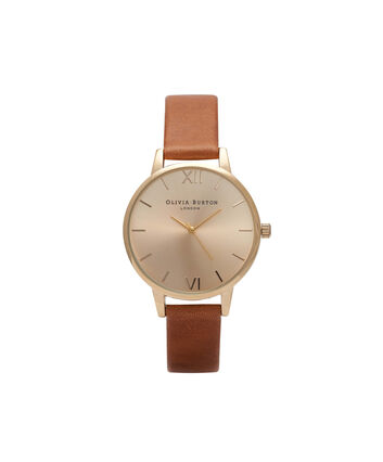 OLIVIA BURTON LONDON Sunray DialOB14MD22 – Midi Dial Round in Gold and Tan - Front view